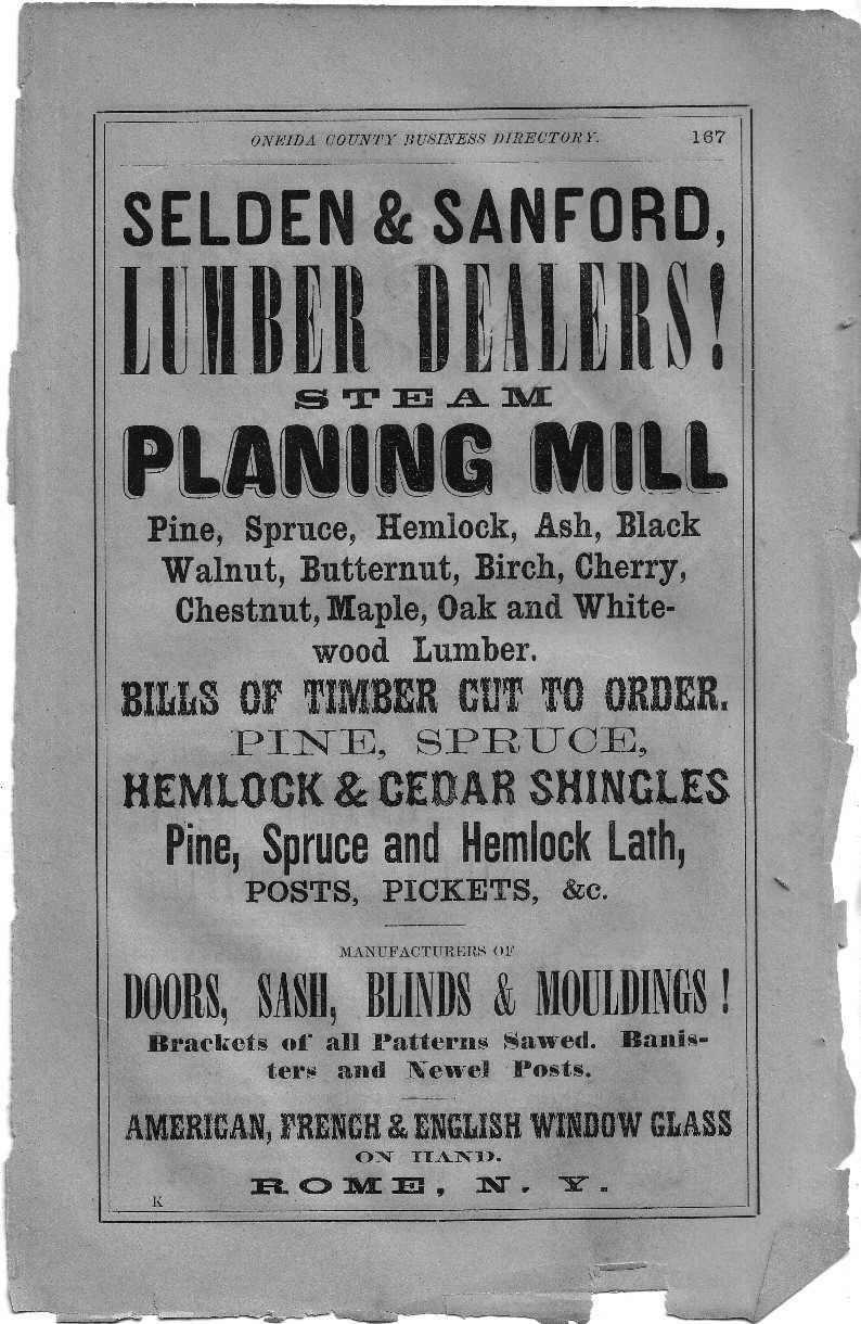 1869 Oneida County Directory Advertisements