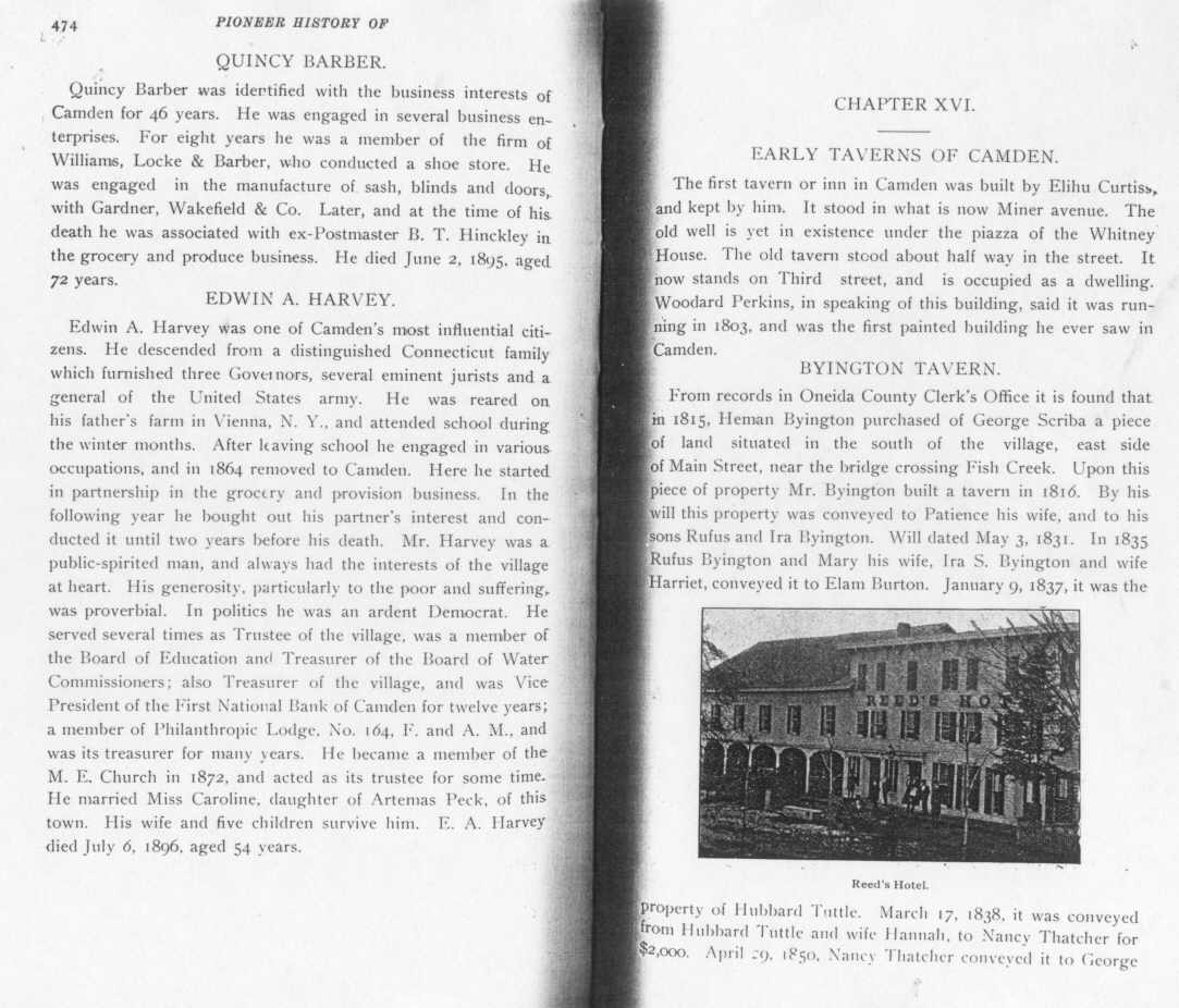 Pioneer History of Camden, N Y